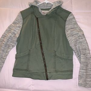 Olive/gray asymmetrical sweatshirt jacket